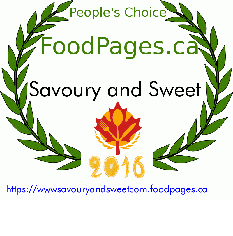 Savoury and Sweet FoodPages.ca 2016 Award Winner