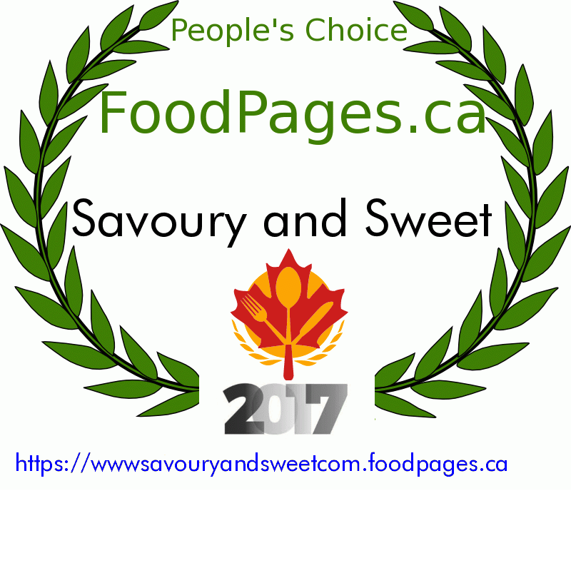 Savoury and Sweet FoodPages.ca 2017 Award Winner